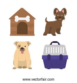 pet dogs cage and wooden house icons set