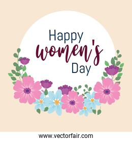 Womens Day lettering greeting card flowers decoration