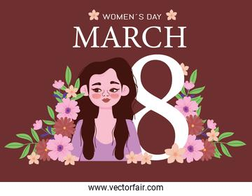 Womens Day 8 march and girl flowers floral card