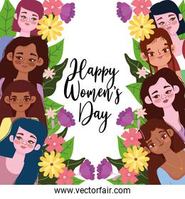 Womens Day beautiful group girls flowers frame decoration card