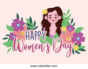 Womens Day portrait cartoon woman with flowers card
