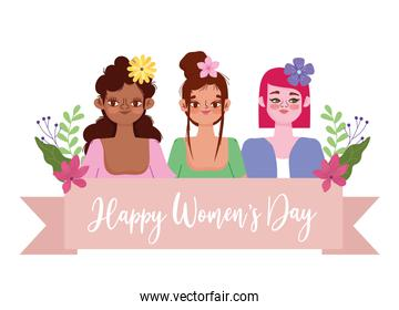 Womens Day young women cartoon with flowers in hair and banner