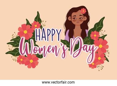Womens Day international clebration girl with flowers nature