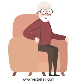 cute granfather member seated in sofa character