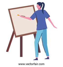 young woman painting picture character