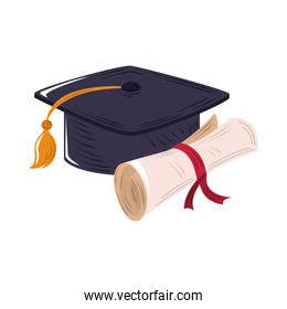 graduation hat and certificate icon flat design