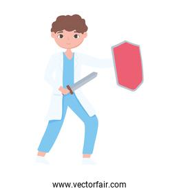 cartoon male doctor with sword and shield vaccine medical design