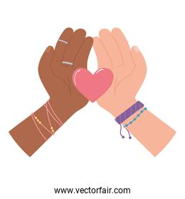 black Lives, diverse hands heart equality and diversity
