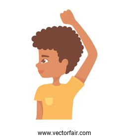afro american boy hand up character cartoon