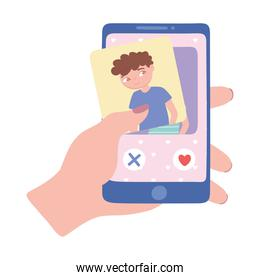 hand holds smartphone searching for romantic relationship, dating app