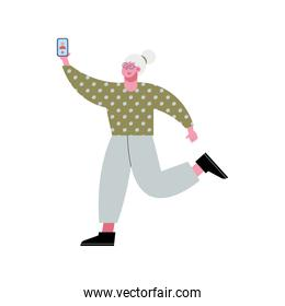 old woman using smartphone technology character