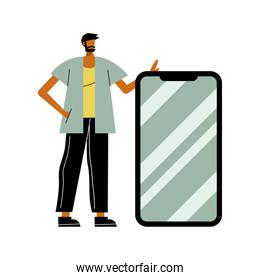 young man with smartphone character