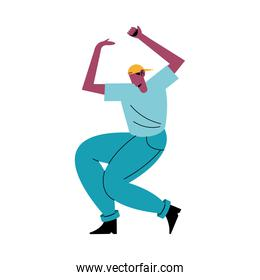 happy young afro man dancing avatar character