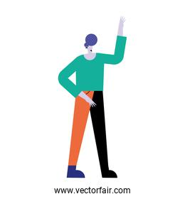 happy young casual man standing with hand up character
