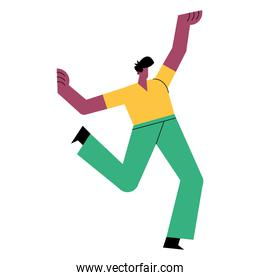 happy young casual afro man dancing character