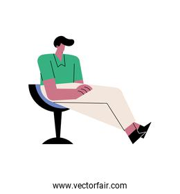 happy young casual man seated in the chair character