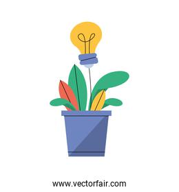 houseplant with bulb light idea