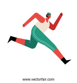 young brunette man athlete running character