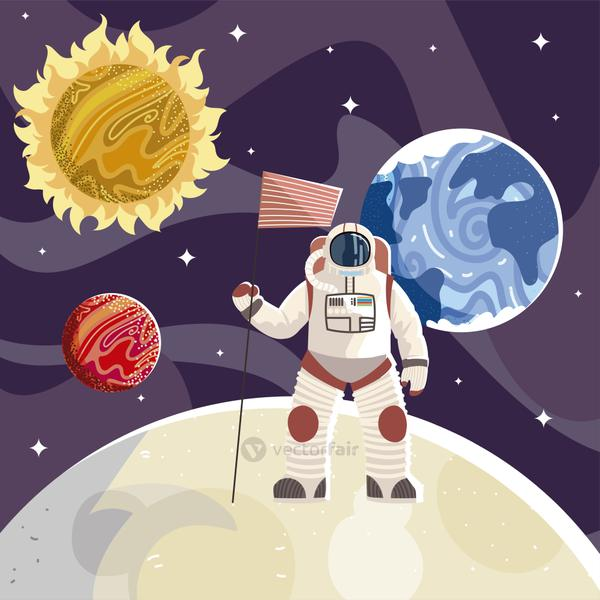 astronaut with flag space exploration universe