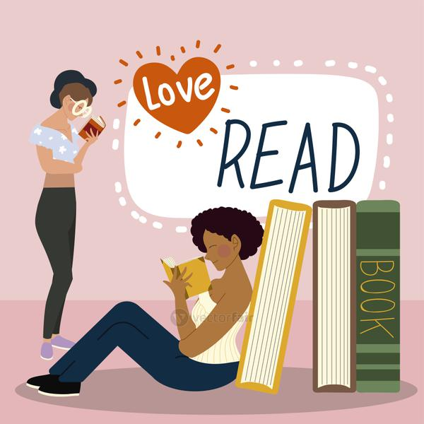 young women characters with books love read concept