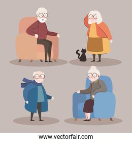group of four grandparents seated in sofas characters