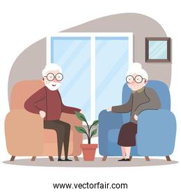 cute grandparents couple seated in sofa characters