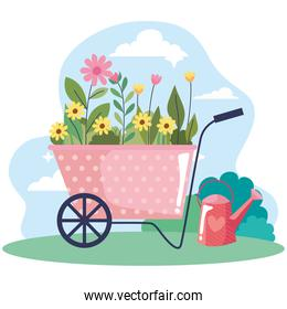 beautiful flowers garden in wheelbarrow landscape scene