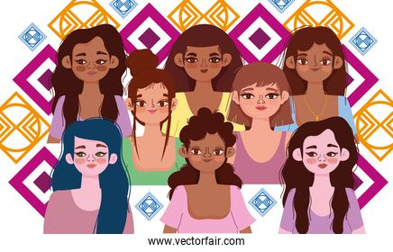 diversity women, happy smiling women of different race together