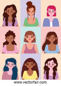 diversity women different nationalities and cultures, diverse avatars