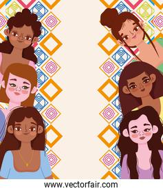 young women diverse faces characters on abstract background