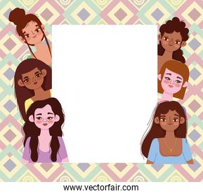 young women group diverse female characters on abstract background