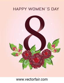happy womens day 8 march flowers ornamental decoration floral