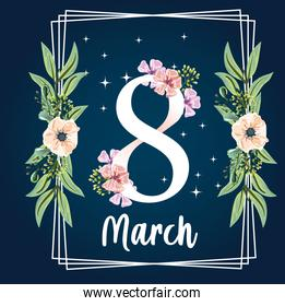 womens day 8 march flowers floral frame decoration greeting card