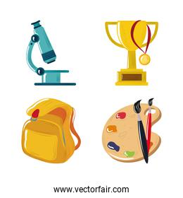 back to school microscope trophy backpack and paintbrush icons set