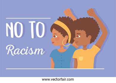 black lives, afro girl and boy raised hands protest, no to racism
