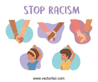 stop racism afro american people and diversity hands together