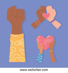 black lives, diverse hands equality and love