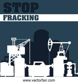 fracking tower with cabin and oil drill tanks storage silhouette
