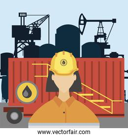 female worker fracking refinery tower, oil rig production