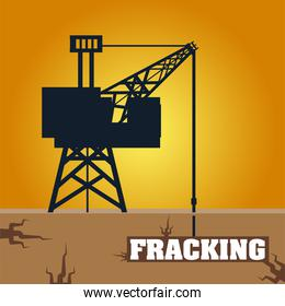 fracking tower with cabin and oil drill underground