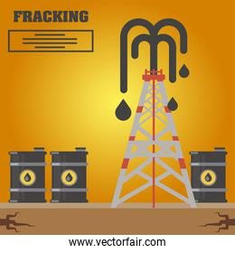 fracking refinery tower, barrels with oil production