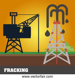 fracking refinery tower, oil rig extraction and production