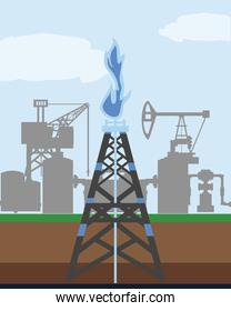 fracking tower gas and oil rig industry exploration