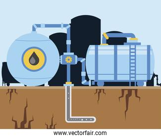 fracking oil industry machinery pump and pipeline exploration