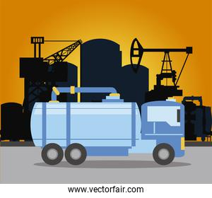 fracking oil rig truck tank and pipeline
