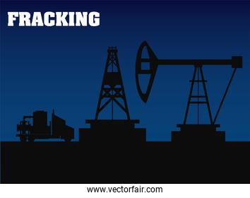 fracking oil rig drilling equipment and truck silhouette