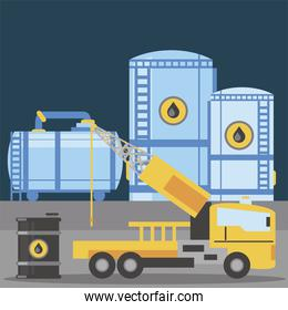 fracking truck self propelled drilling rig machinery and oil barrel