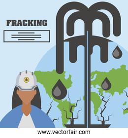 fracking female worker and oil industry extraction production world