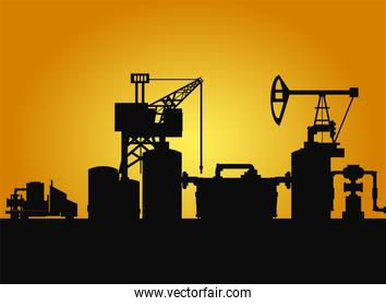 dark silhouette of drilling rig and pump fracking