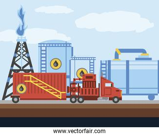 fracking tower oil and gas drilling industry truck and tanks